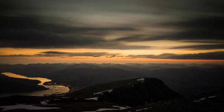 Sunset summer mountain snow