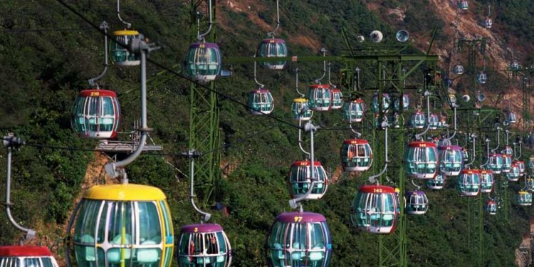 Cable cars at Ocean Park Hong