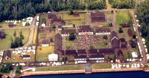 An aerial view of Fort William Historical Park.