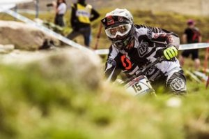Brendan Fairclough driving during training at the Fort William DH World Cup 2016 on Summer 3, 2016.
