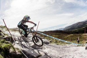 Danny Hart riding during training at the Fort William DH World Cup 2016 on June 3, 2016.
