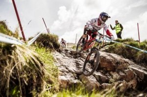 Gee Atherton driving during training on Fort William DH World Cup 2016 on Summer 3, 2016.