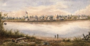 Old Fort William and also the Hudson's Bay trading post at lips of this Kaministikwia River, circa 1853.